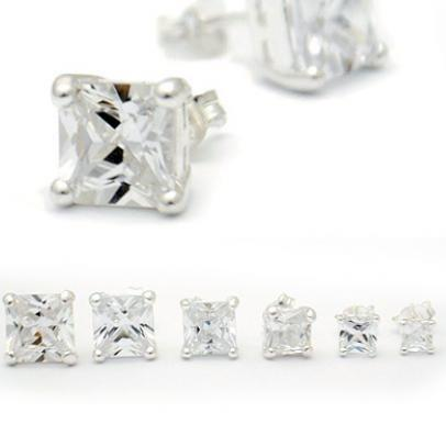Square Cut Clear Crystal Posts, $8.50-$14.50 | Sterling Silver Stud Earrings