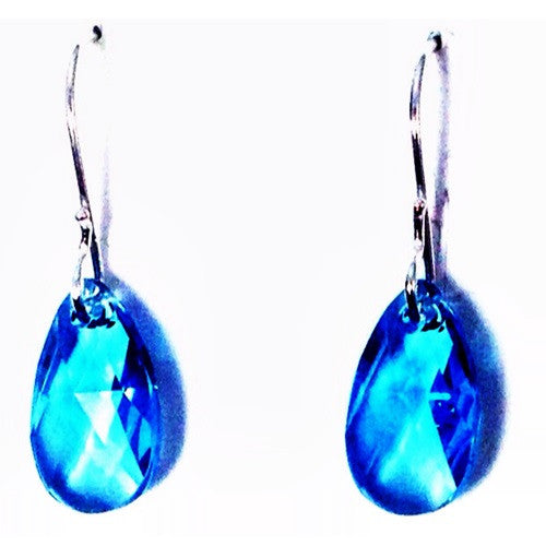 Aqua Crystal Briolette Drop Earrings, $18 | Sterling Silver | Light Years Jewelry