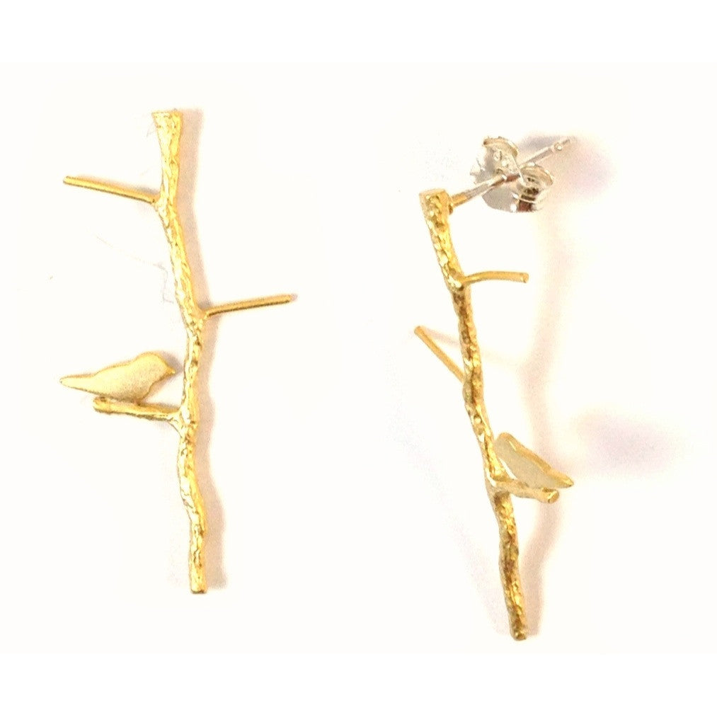 Gold Twig And Bird Post Earring, $22 | Sterling Silver Stud Earrings