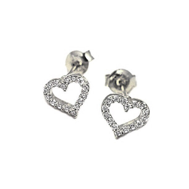 Open CZ Heart Posts, $14 | Sterling Silver Stud Earrings | Light Years Jewelry