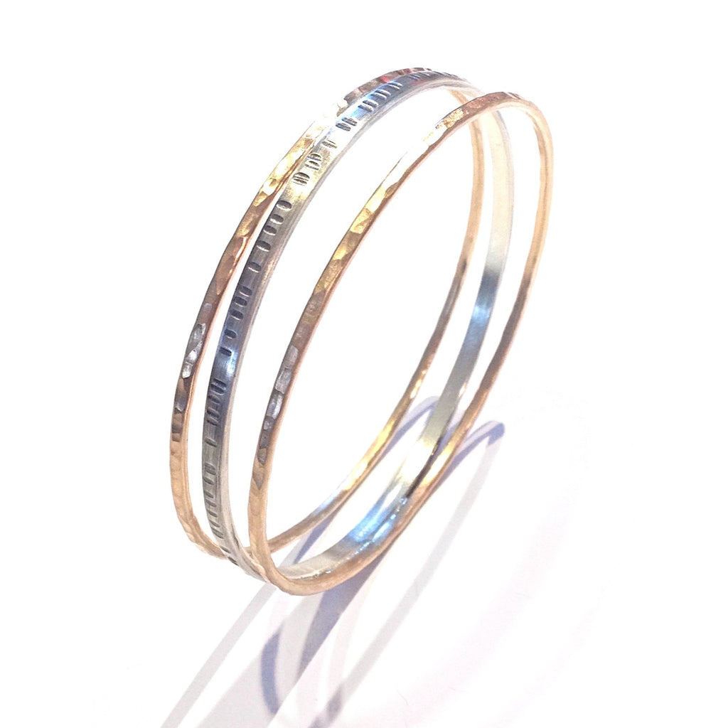 Etched Mixed Metal Bangle