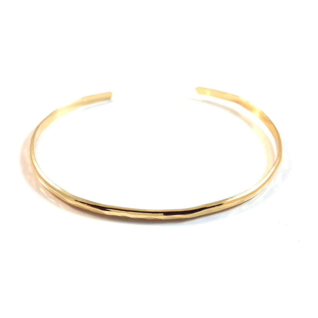 Slender Hammered Cuff Bracelet, $24 | 14kt Gold | Light Years Jewelry
