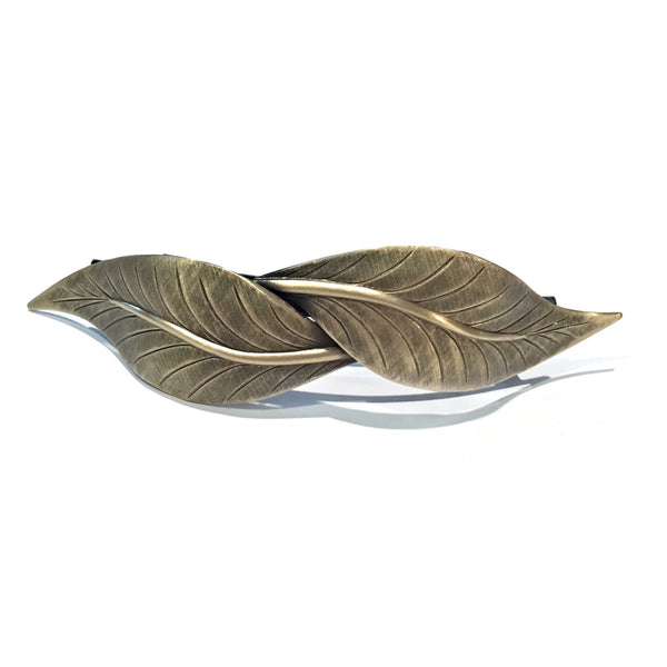 Two Leaves Antiqued Barrette | Brass or Silver | Light Years Jewelry