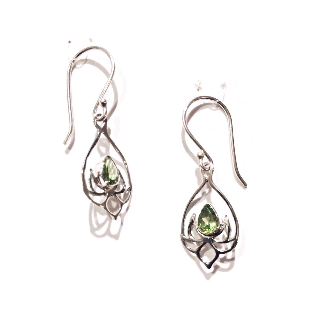 Peridot Lotus Blossom Earrings, $25 | Sterling Silver | Light Years