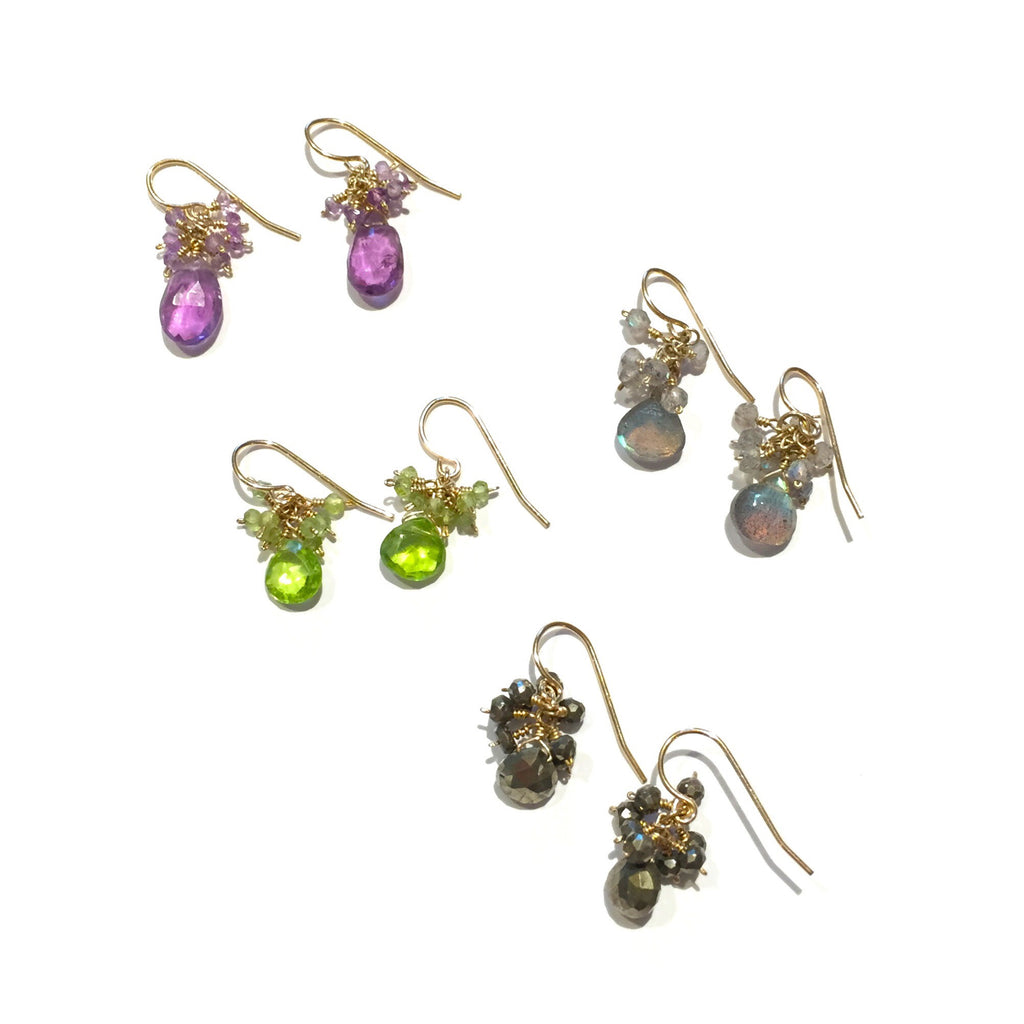 Handmade 14kt Gold-Filled Faceted Stone Cluster Earrings, $36 | Light Years Jewelry