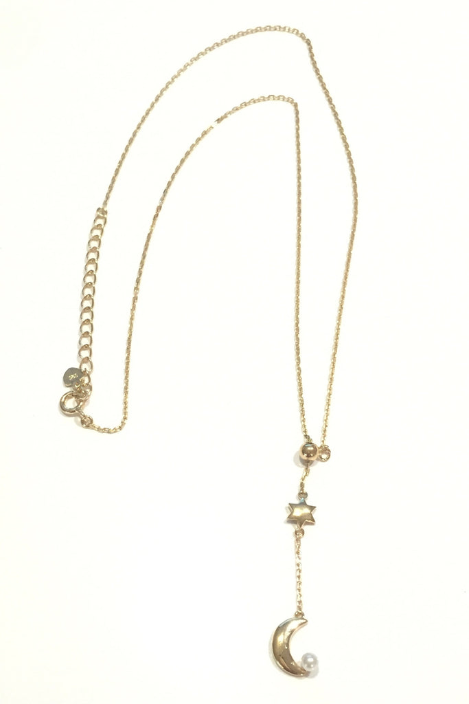 Moon and Pearl Y Necklace, $24 | Gold or Silver | Light Years Jewelry