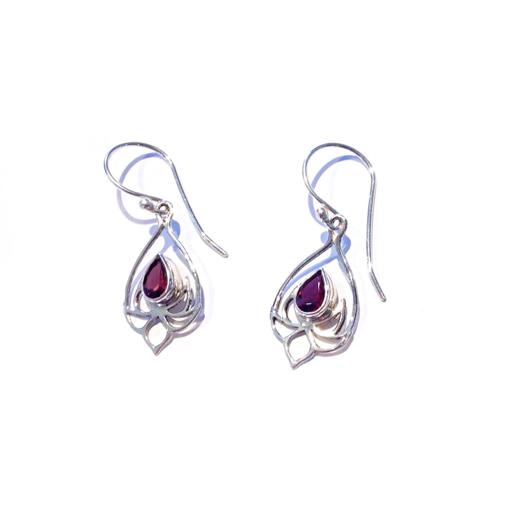 Garnet Lotus Blossom Earrings, $25 | Sterling Silver | Light Years Jewelry