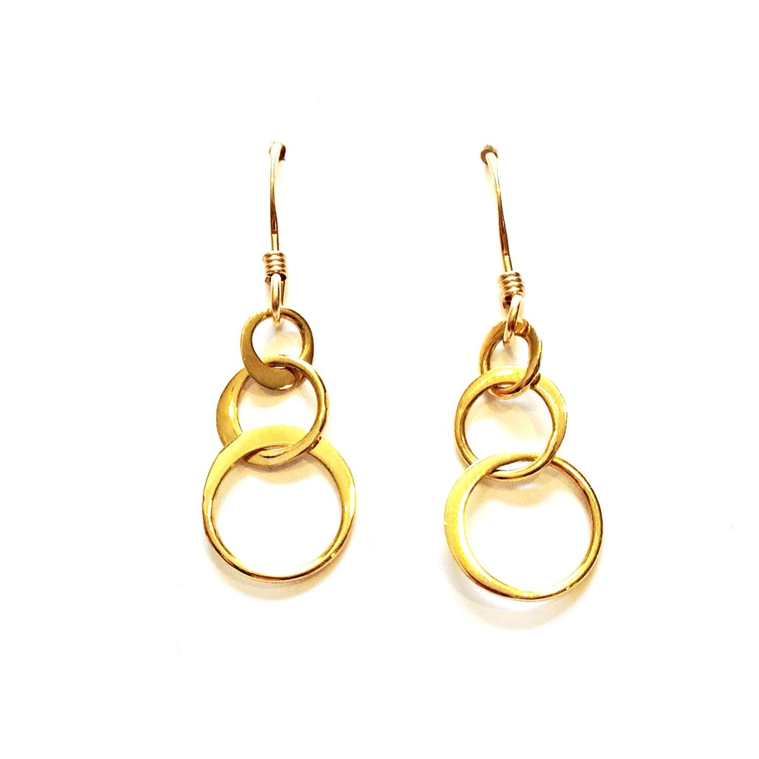Three Gold Ringlet Dangles, $18 | 14kt Gold Earrings | Light Years Jewelry