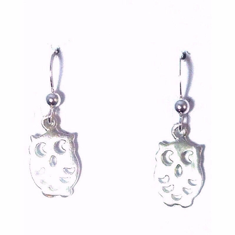 Spotted Owl Dangles, $18 | Sterling Silver Earrings | Light Years Jewelry