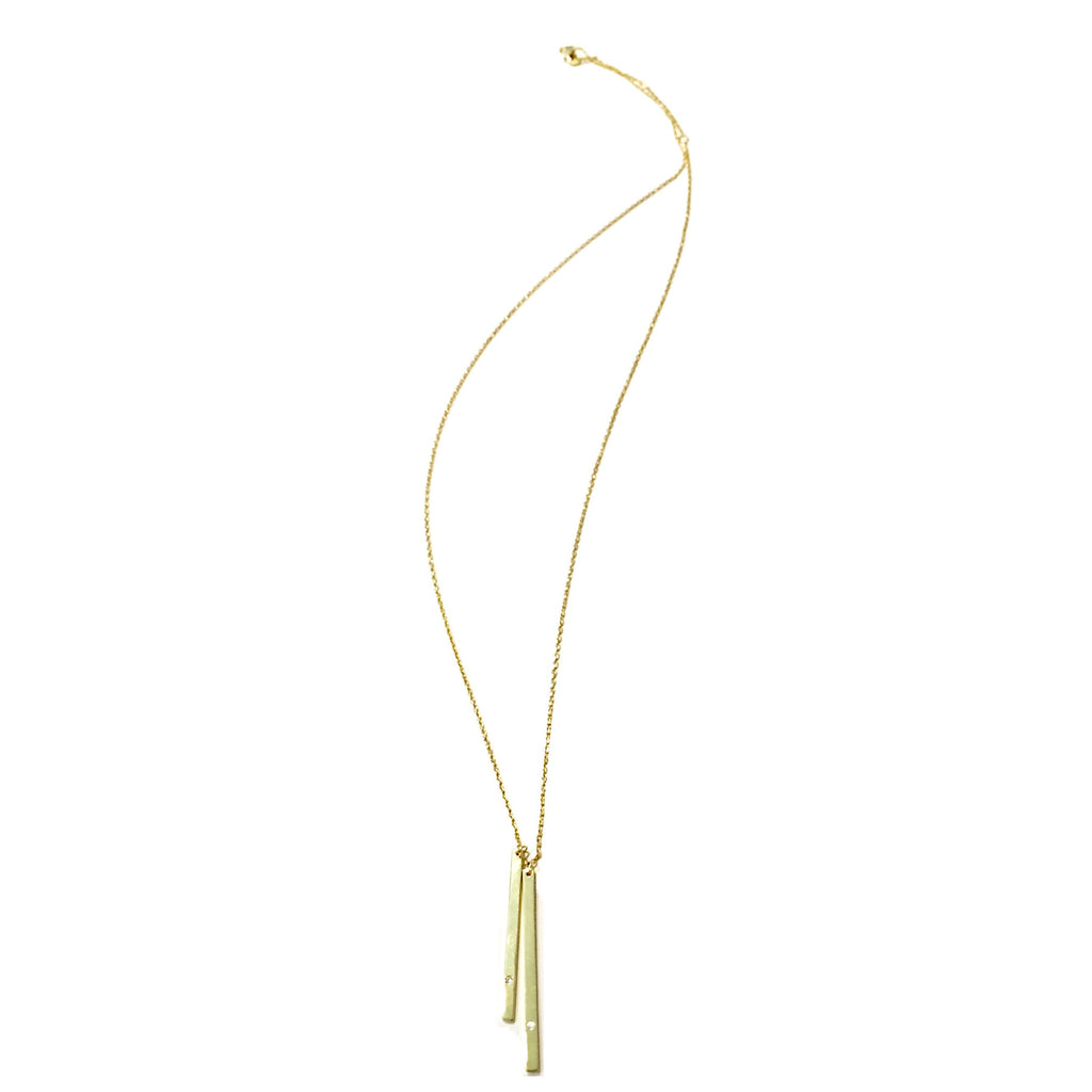 Double CZ Gold Vermeil Bar Necklace, $20 | Light Years Jewelry