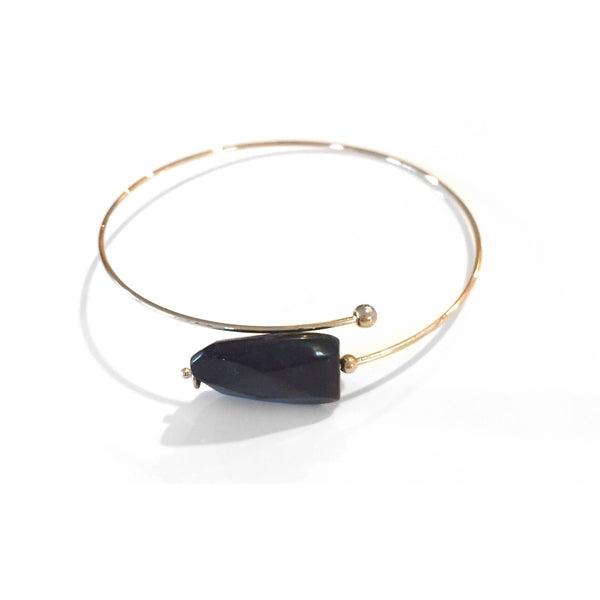 Gold Open Bracelet Bangle, $8 | Onyx, Turquoise | Light Years Jewelry
