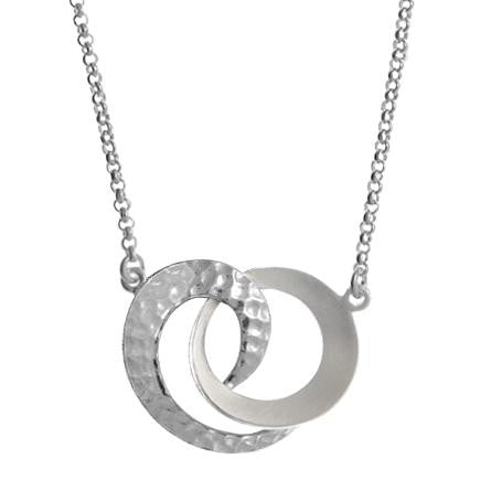 Sterling Silver Hammered Double Ring Necklace, $32 | Light Years Jewelry