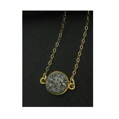 Round Gray Druzy Necklace, $34 | Gold Chain | Light Years Jewelry