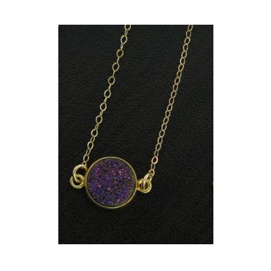 Round Violet Druzy Necklace, $34 | Gold Chain | Light Years Jewelry