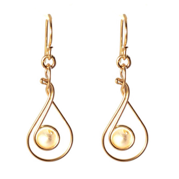 Twisted Wire Pearl Earrings, $19 | 14kt Gold-Filled | Light Years