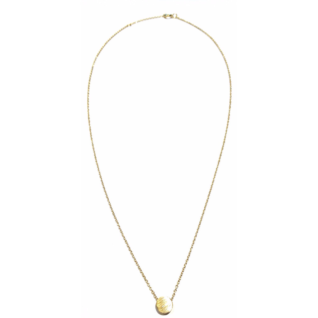 Simple Scratched Disc Necklace, $17 | Gold Vermeil | Light Years Jewelry