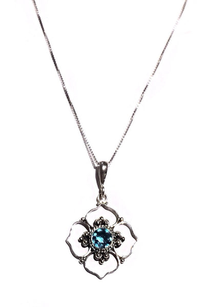 Blue Topaz Four Petal Stone Flower and Chain, $32 | Sterling Silver | Light Years Jewelry