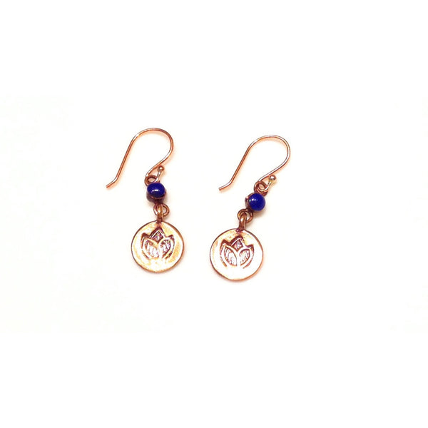 Copper Lapis and Lotus Earrings, $17 | Light Years Jewelry