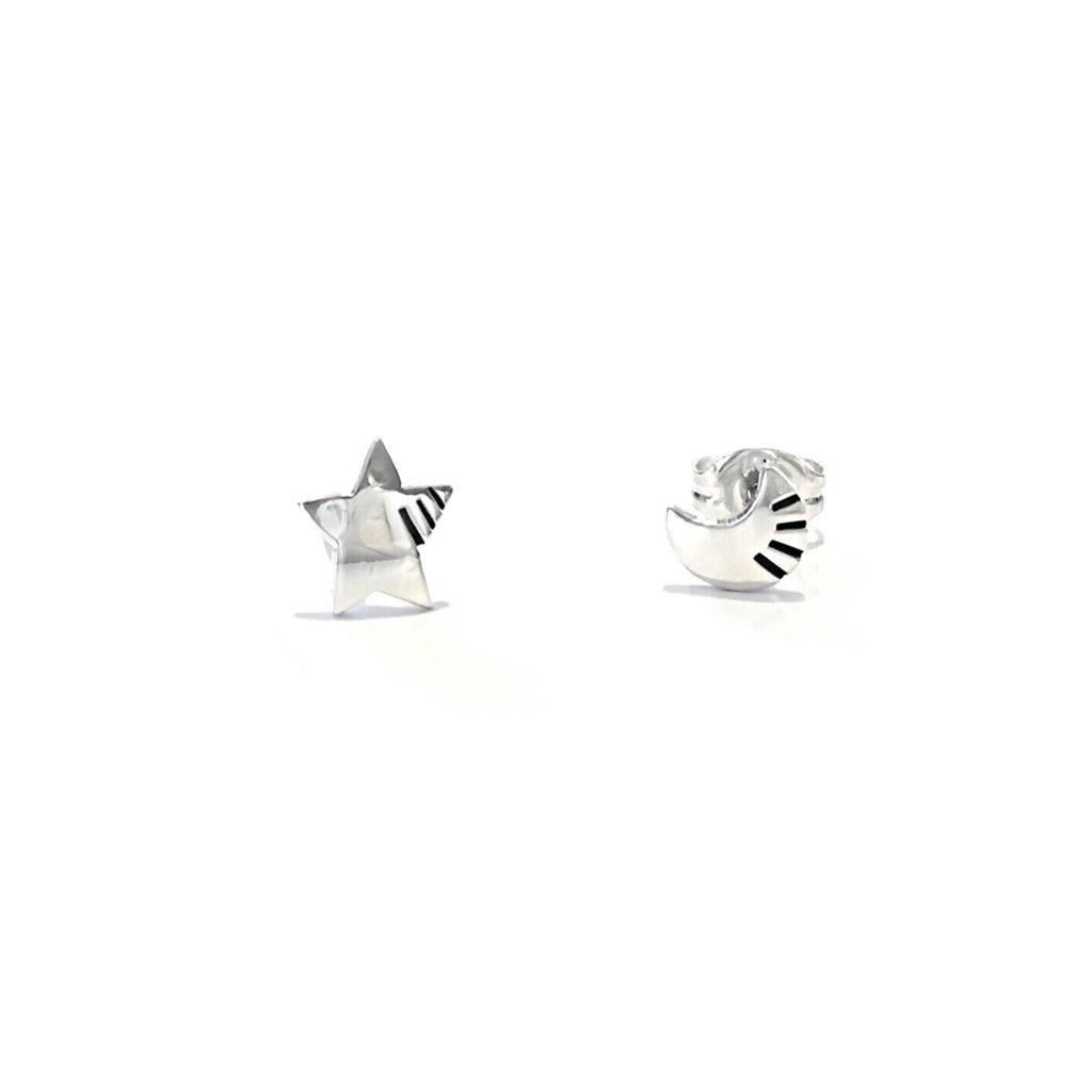 Decorative Star and Moon Posts, $15 | Sterling Silver Stud Earrings | Light Years Jewelry