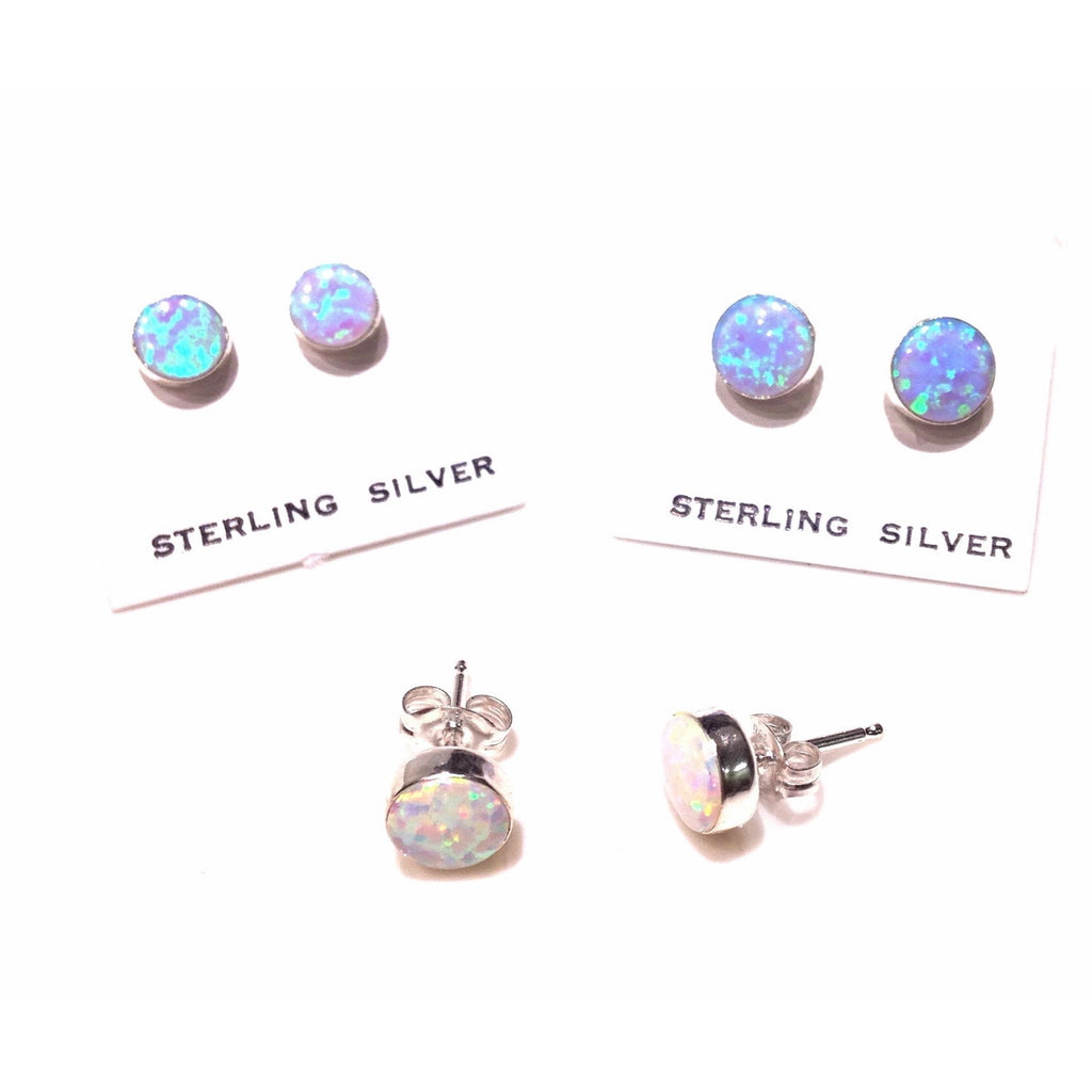 Round Opal Posts, $9-$12 | Sterling Silver Stud Earrings | Light Years Jewelry