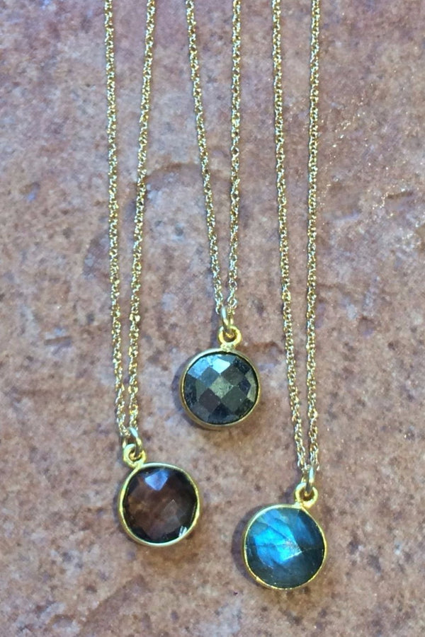 Faceted Stone Disc Necklaces, $27 | Gold Filled | Light Years Jewelry