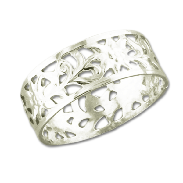 Floral Cutout Ring | Sterling Silver Band Sizes 6 7 8 9 | Light Years