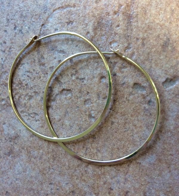 Gold Flat Edge Hoops