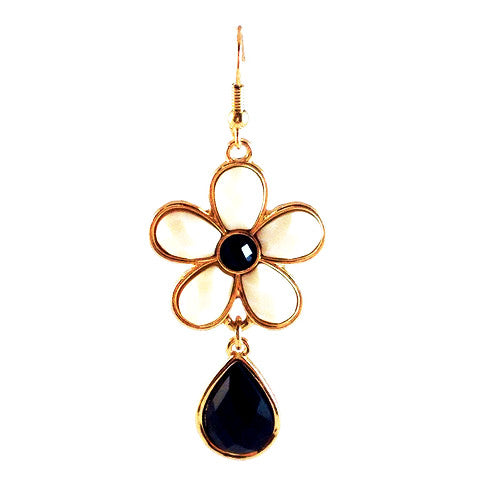 Black and White Flower with Teardrop Earrings, $10 | Fashion Gold