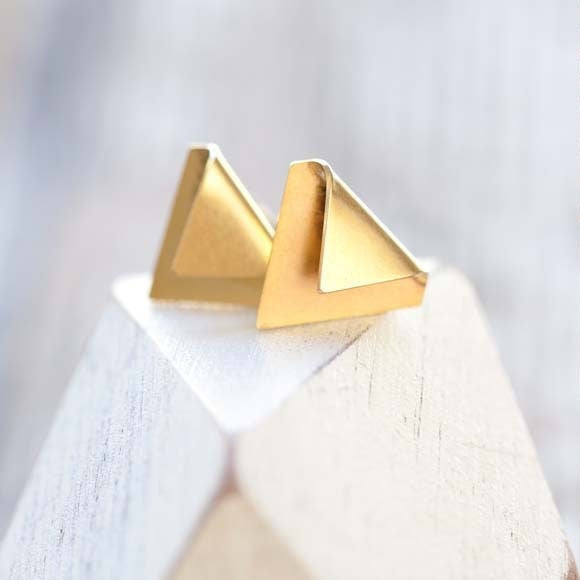 Folded Over Triangle Post Earrings, $18 | Light Years Jewelry