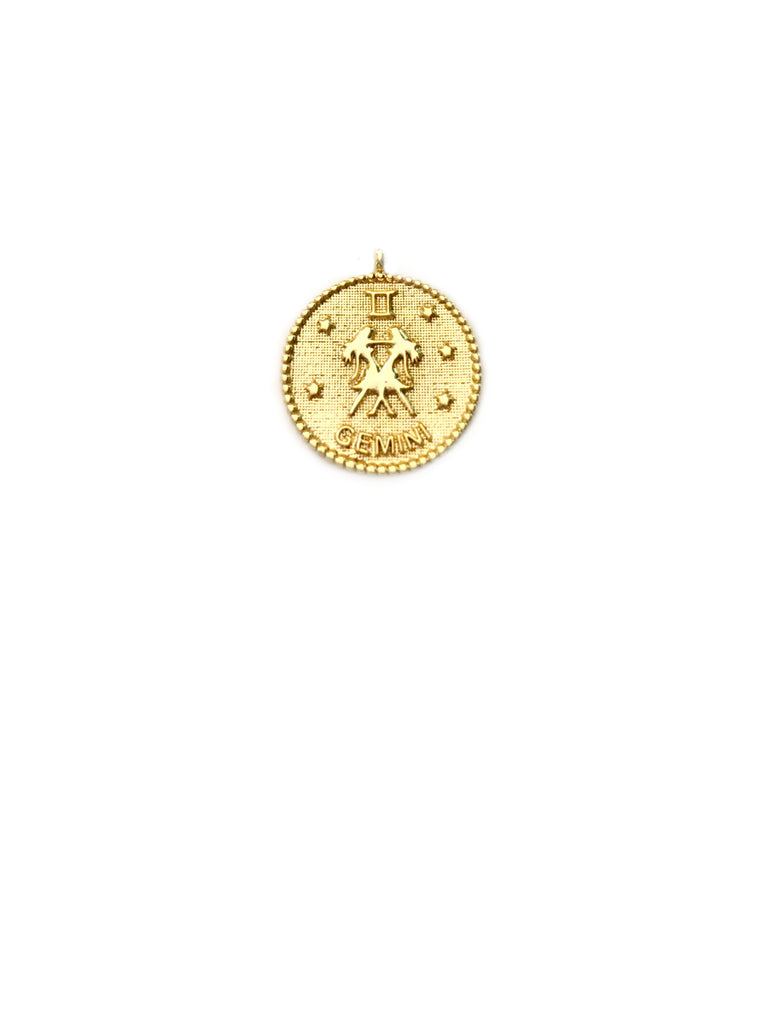 Zodiac Medallion Necklace | Gemini | Gold Plated Chain Pendant | Light Years