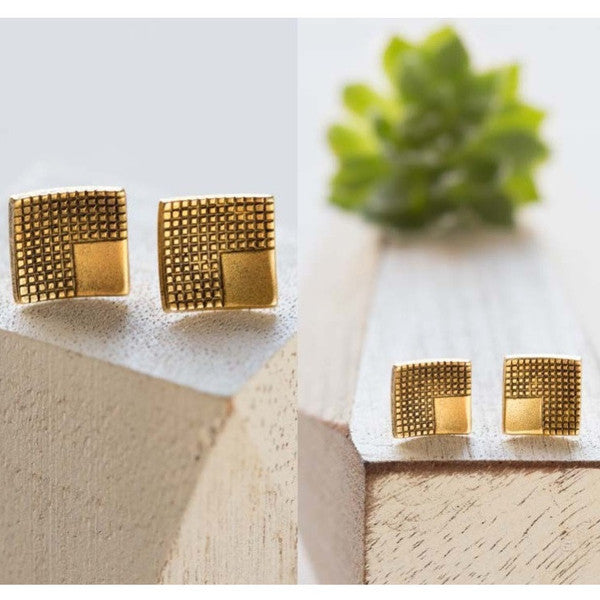 Gold Geometric Square Posts | Vintage Stud Earrings | Light Years Jewelry