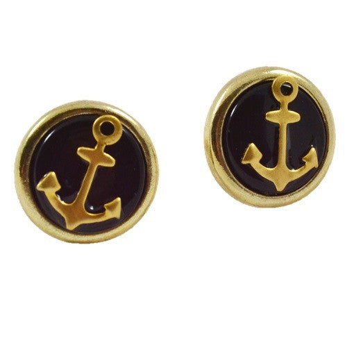 Gold Anchor Posts, $9 | Nautical Stud Earrings | Light Years Jewelry