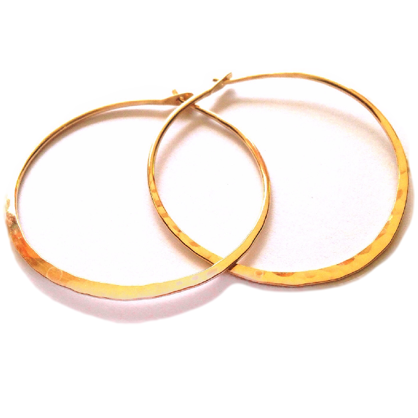 Gold Hammered Hoops $11-$26 | 14kt Gold Earrings | Light Years Jewelry