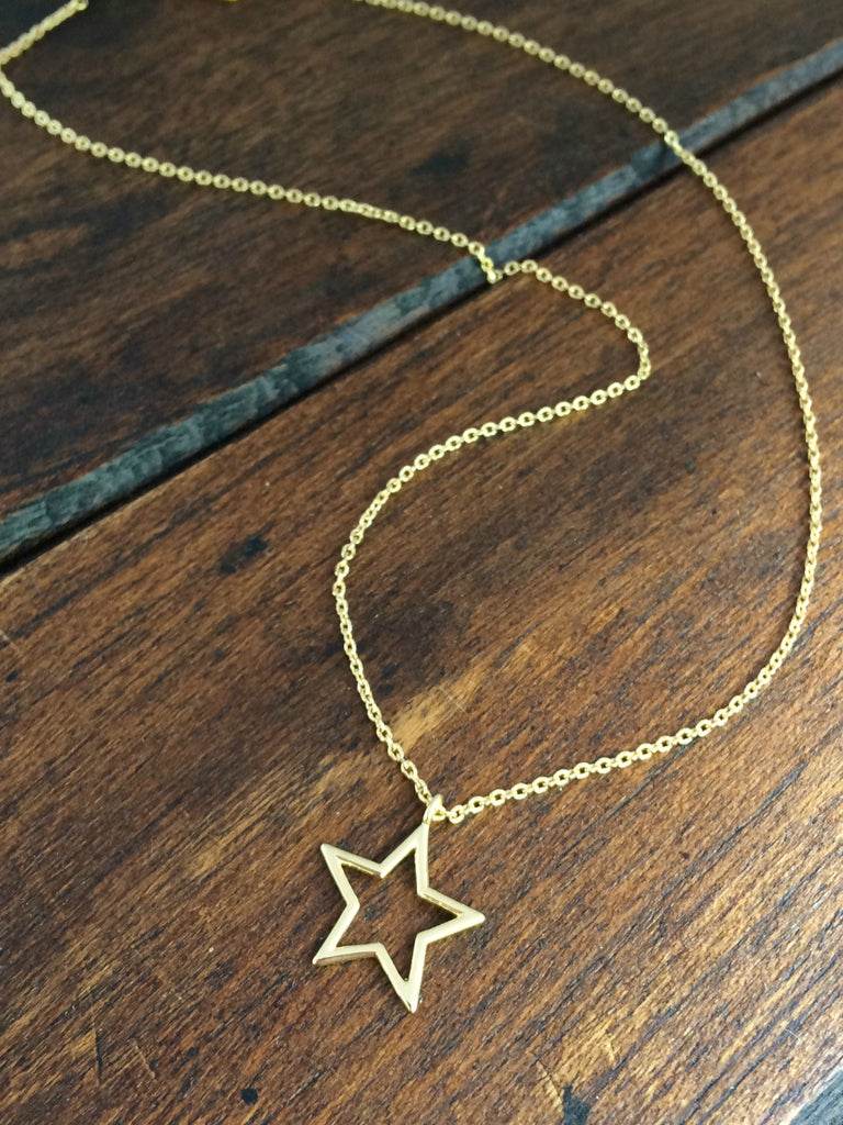 Star Outline Pendant Choker Necklace | Gold Silver Plated | Light Years