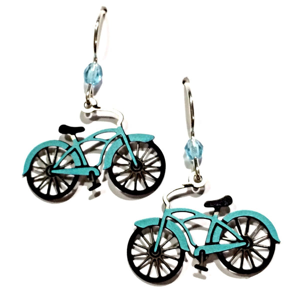 Blue-Green Bike Earrings, $16 | Sterling Silver | Light Years Jewelry