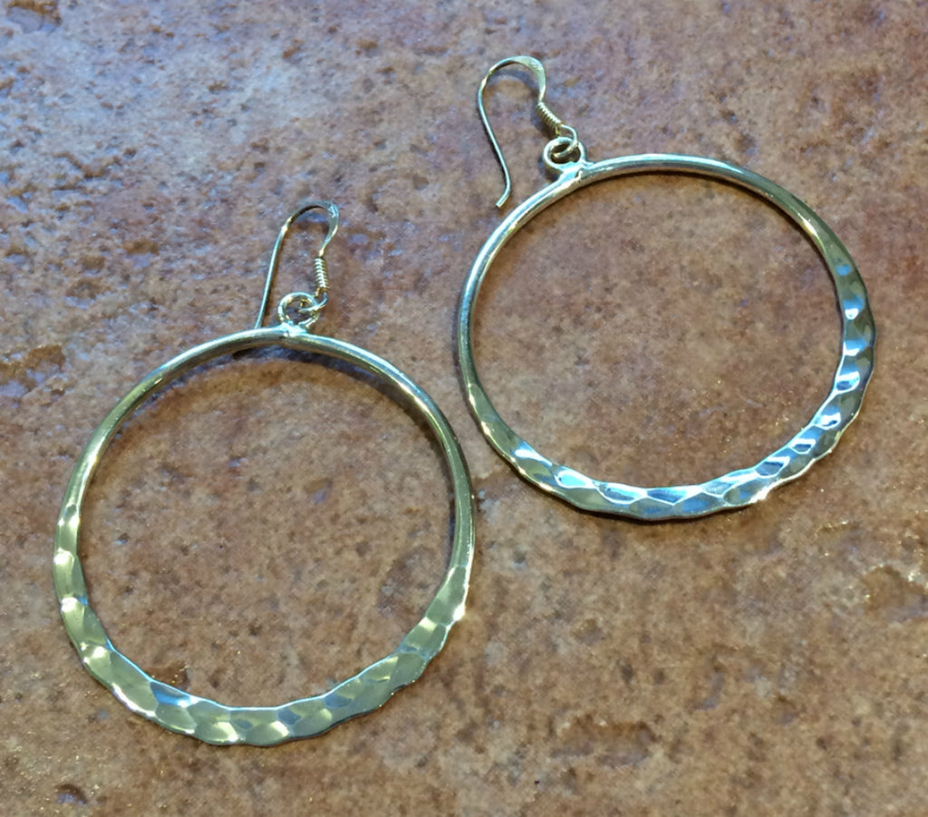Large Hammered Dangles, $27 | Sterling Silver | Light Years Jewelry