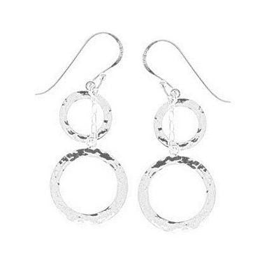 Hammered Double Circle Dangles, $24 | Sterling Silver Earrings