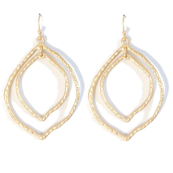 Matte Gold Hammered Marquis Dangles, $8 | Fashion Earrings | Light Years Jewelry