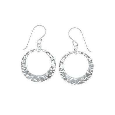 Hammered Open Circle Dangles, $29 | Sterling Silver Earrings | Light Years Jewelry