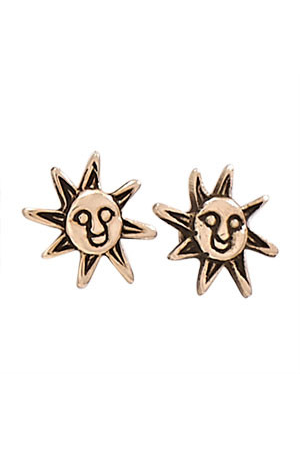 Bronze Happy Sun Posts, $10 | Light Years Jewelry