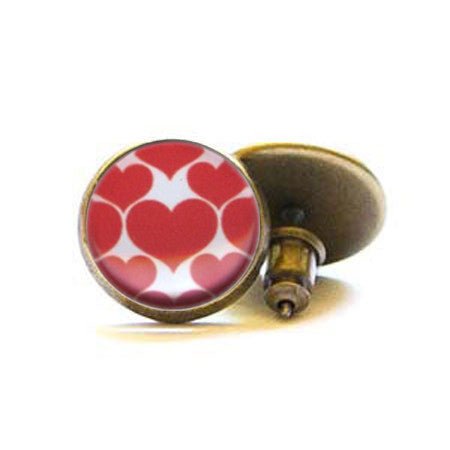 Beijo Brasil Red Hearts Posts, $14 | Brass Stud Earrings | Light Years Jewelry
