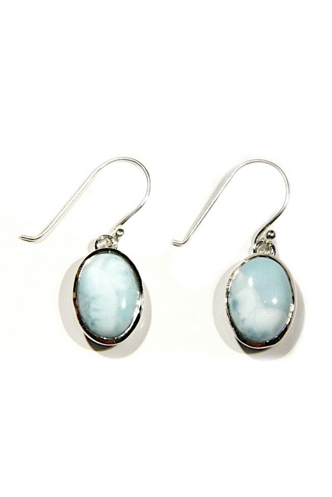 Oval Larimar Dangles, $52 | Light Years Jewelry