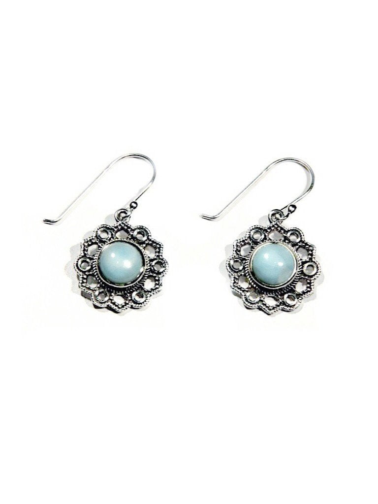 Larimar Filigree Dangles, $40 | Light Years Jewelry