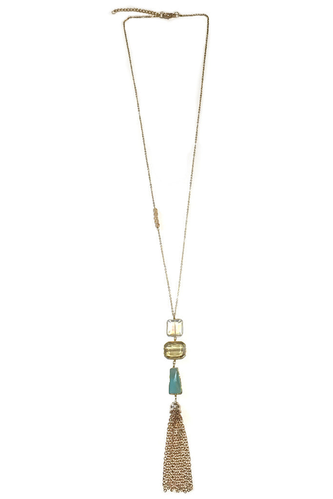 Long Crystal Tassel Necklace, $15 | Light Years Jewelry