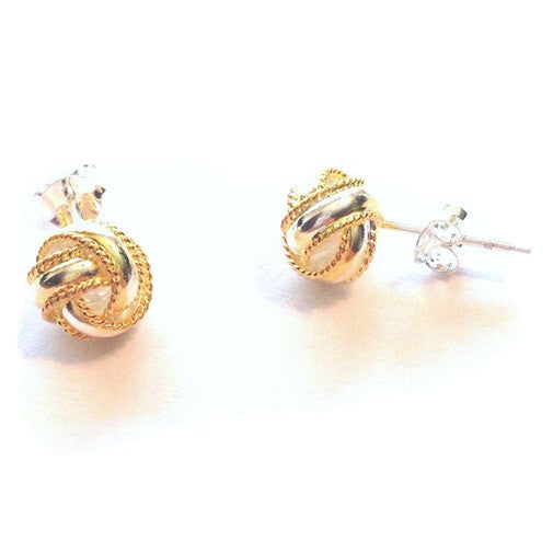 Love Knot Posts with Gold Rope Border, $12 | Sterling Silver Stud Earrings
