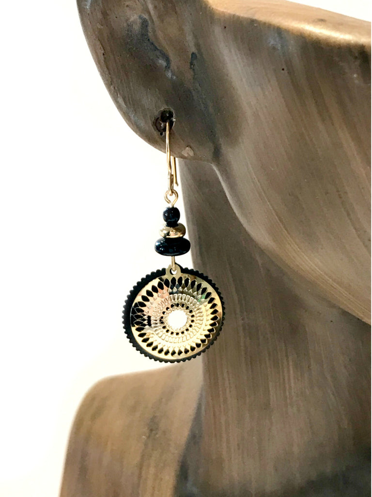 Black & Gold Mandala Dangles by Adajio | 14kt Gold Filled | Light Years