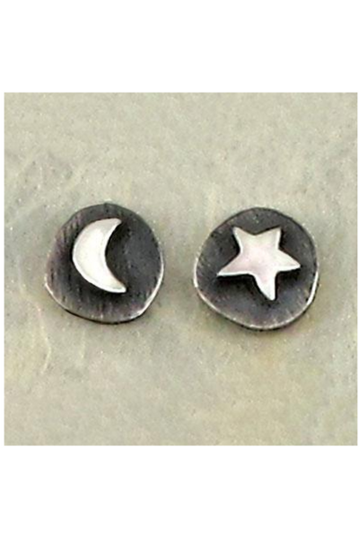 Moon & Star Mismatched Stud Earrings