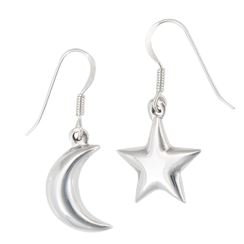 Moon & Star Drop Earrings, $17 | Sterling Silver | Light Years Jewelry