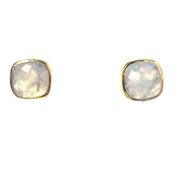 Faceted Moonstone Stone Posts, $34 | Gold Vermeil Stud Earrings | Light Years Jewelry