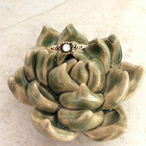 Bronze Mother of Pearl Ring | Size 6 7 8 9 | Light Years Jewelry
